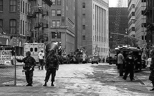 Photo: National Guard and equipment near Ground Zero