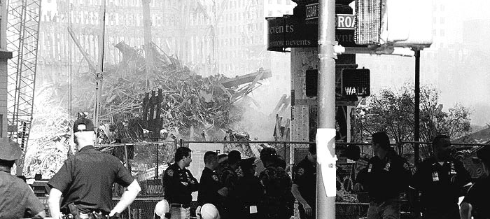 Photo: World Trade Center rubble, with police