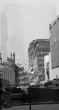 Photo: Heavily-damaged building next to Ground Zero